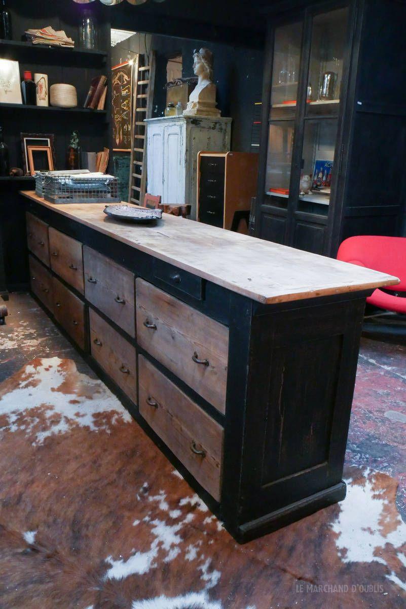 Ancien De Comptoir De Magasin Debut Xxeme Par Le Marchand D Oublis Comptoir Magasin Mobilier De Salon Deco Fait Maison