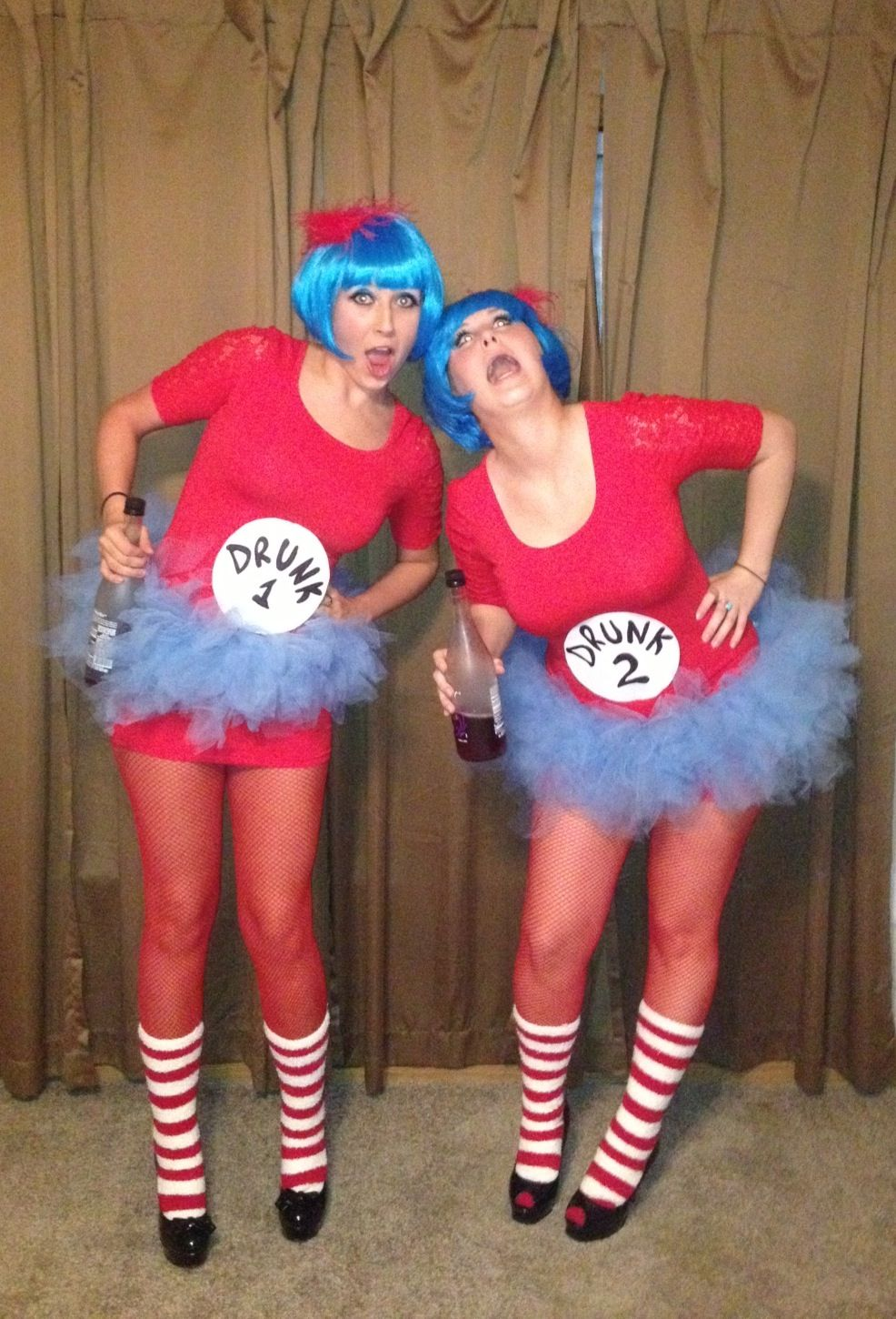 Thing 1 and thing 2 Halloween costume. DIY. Drunk 1 and drunk 2 ...