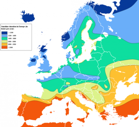 Simplified Wikipedia Map Of Sunshine Duration In Europe According To