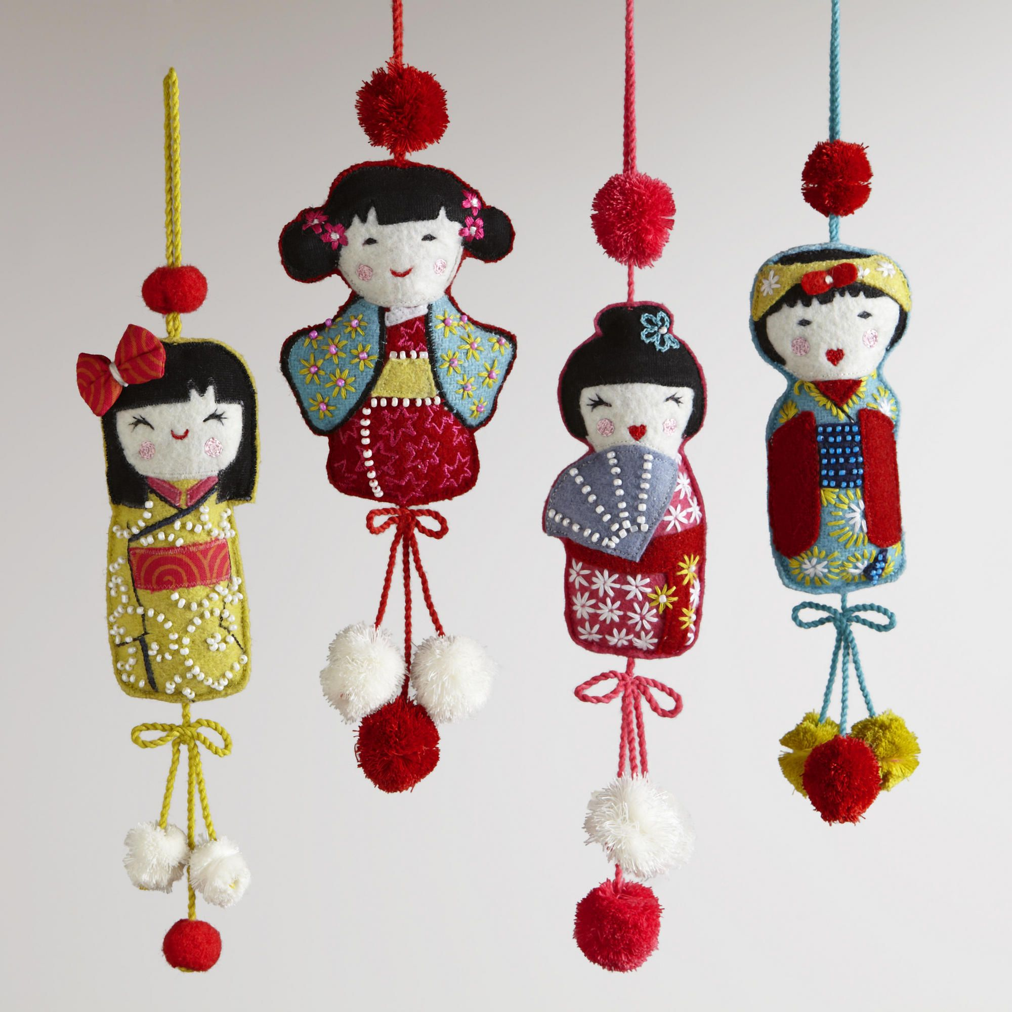 Set of 4-Embroidered Fabric Kokeshi Doll Ornaments, World
