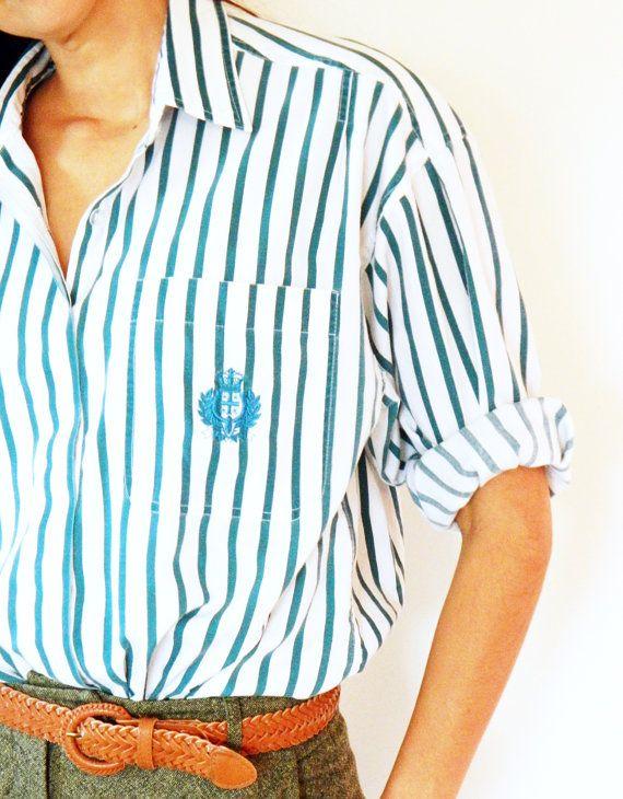 Vintage Emerald Striped Crest Button Up Shirt / Teal Stripes Vintage Blouse / Prep School Crest Oversized Shirt