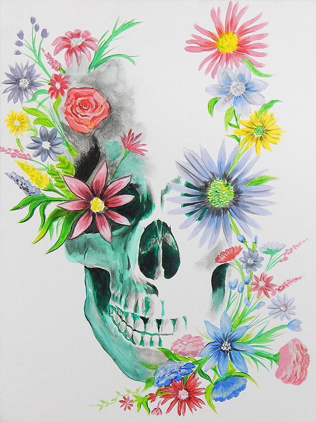 Calaveras Con Flores En 2020 Calaveras Flores Arte Con Flores