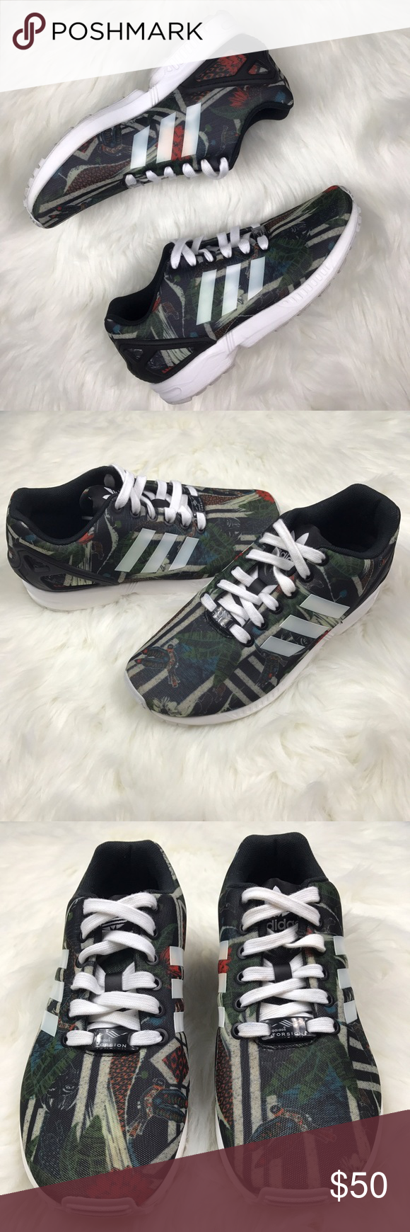 sale retailer f4c9c 5748c Adidas zx flux tropical rain forest Print Size 6 in women's ...