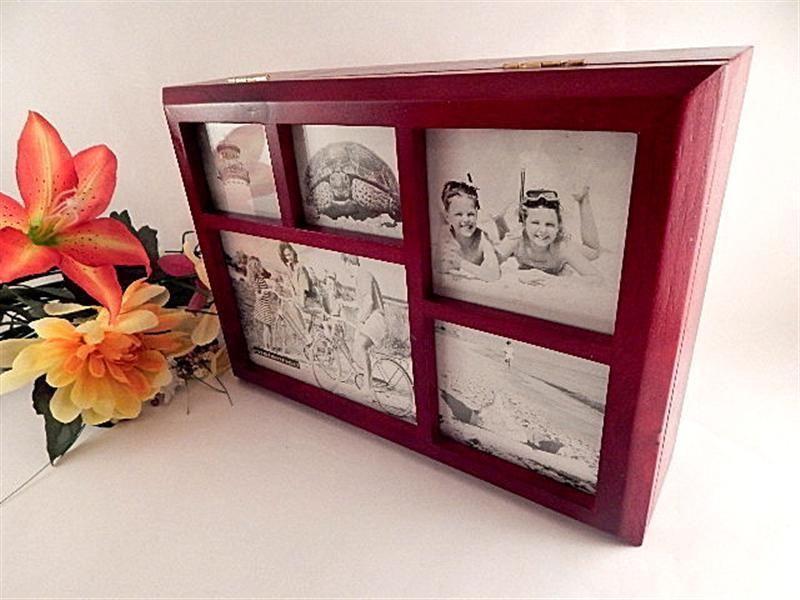 Photo Collage Picture Frame Jewelry Box Wooden Organizer Unisex Flip Top  Valet