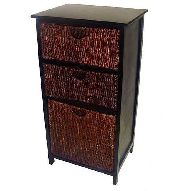 Compact Black Wicker Basket Storage Shelf | Overstock.com Shopping   The  Best Deals On