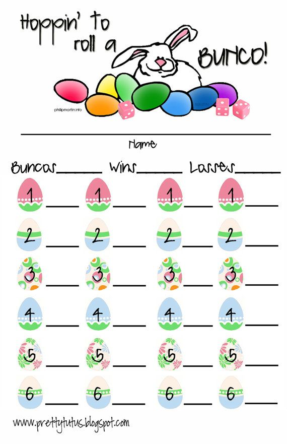 Easter Bunco Score Sheet  Scores Easter And Bunco Ideas