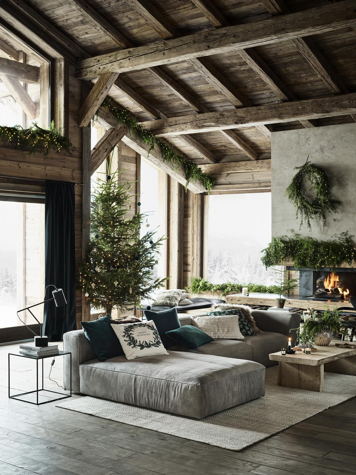 home christmas living room in  barn house source by daliadeadface also vintage industrial design ideas for your loft so cozy pinterest rh