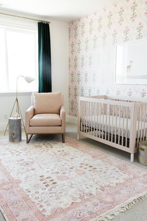 Pink And Beige Nursery Design Fitted With Blackout Curtains In Dark Green Surrounding Blush Pink Floral Wallpap Nursery Rugs Girl Beige Nursery Baby Room Decor