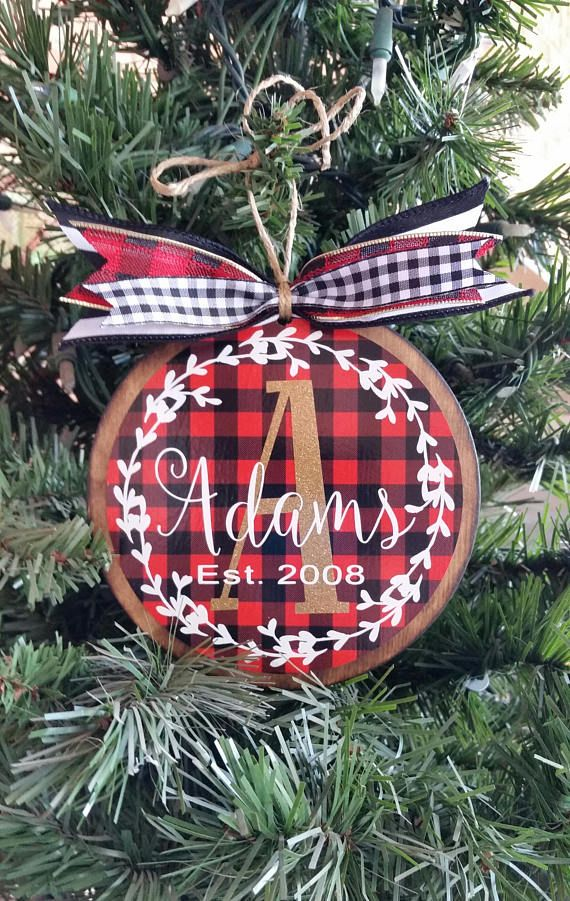 free shipping personalized plaid christmas ornament buffalo plaid wooden ornament christmas gift custom ornament - Plaid Christmas Ornaments