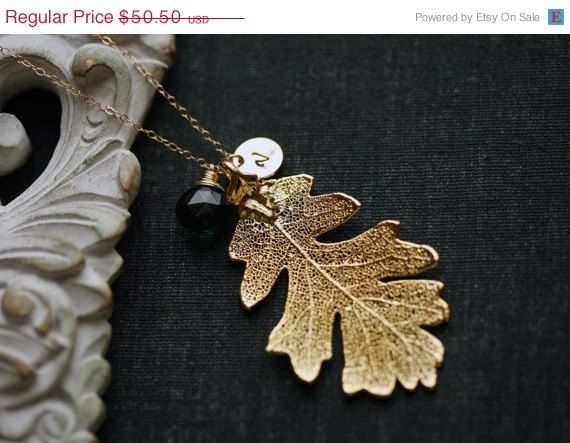 Holiday sale Gold oak leaf necklace,Gold filled Necklace,Rearl leaf Necklace,bridesmaid gifts,Wedding Jewelry,Birthday,Anniversary,Daily Je