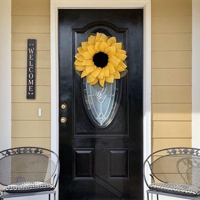 Photo of Sunflower Wreath, Purple Flower Wreath, Purple Wreath, Spring Wreath, Lavender Wreath, Floral Wreath, Sunflower,Door Wreath, Front Door Deco