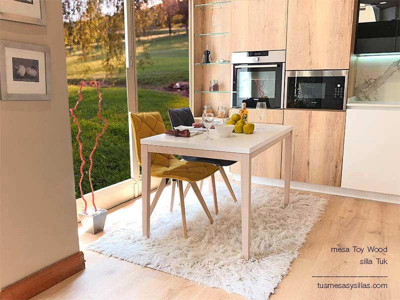 mesa de cocina barata extensible en madera y blanco modelo ...