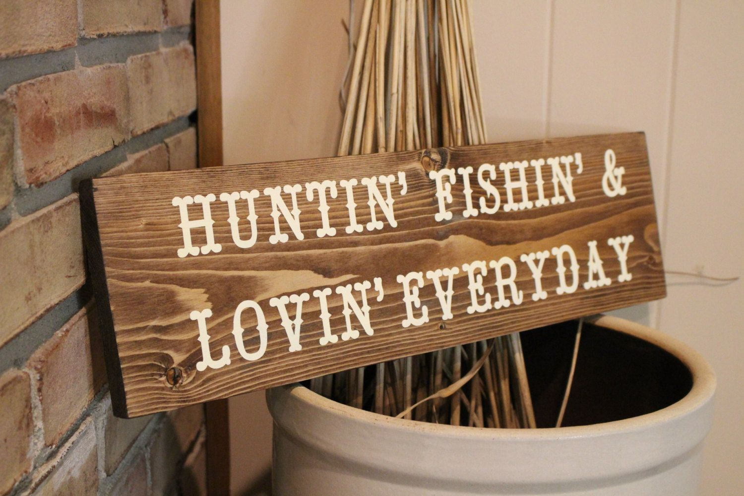 Hunting Fishing Wood Sign Rustic Decor Cabin Decor