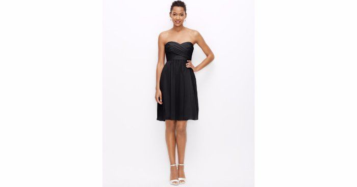 b5af29e4a749 $265 Ann Taylor Black Silk Georgette Strapless Dress 6 Petite Chiffon NEW  A779 #AnnTaylor #TeaDress #Cocktail