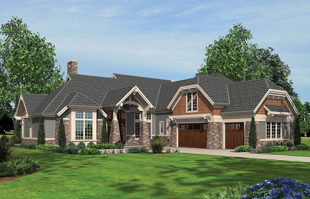 Homes with 2 master bedrooms  Plan AM Arts and Crafts with Two Master Suites  Exterior