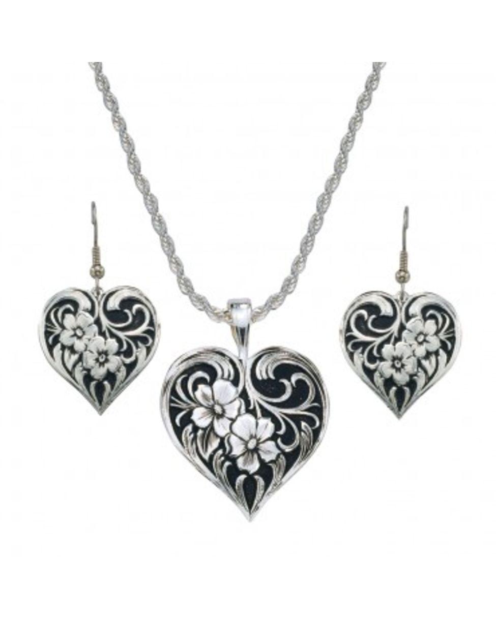 montana silversmiths tangled flowers black and silver filigree jewelry set