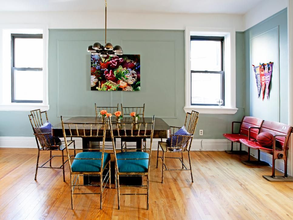 Eclectic Dining Room With Vintage Stadium Seating Eclectic Dining Room Eclectic Dining Room Table Eclectic Dining #stadium #seating #living #room