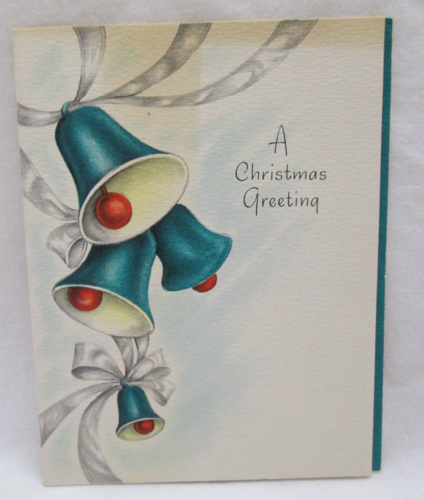 Vintage Christmas Greeting Card 1947 Teal Green Red Bells Hallmark