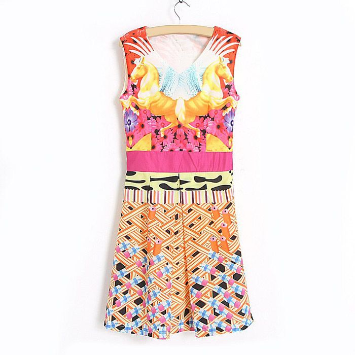Color Block Modern Style Sleeveless Scoop Neck Polyester Dress