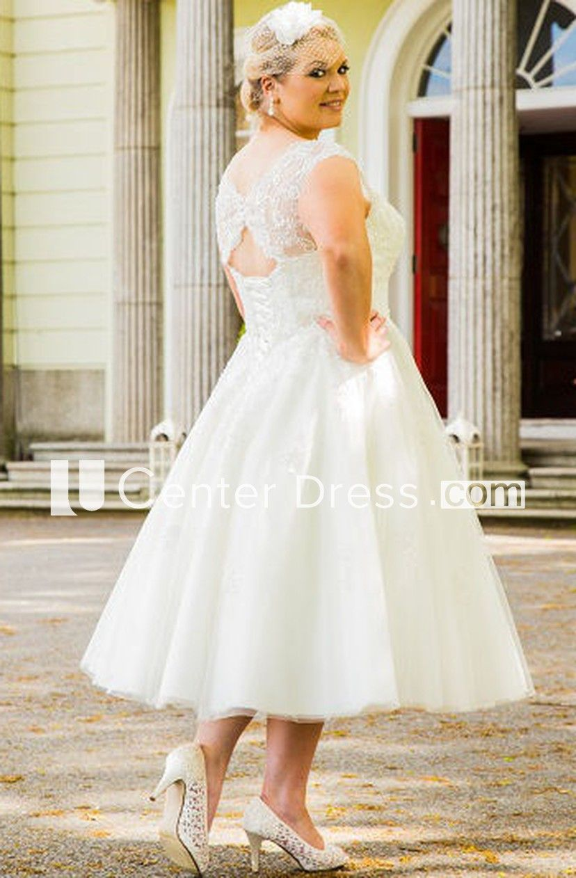 d7e4b543a8c Scalloped Scoop Neck Tea Length Tulle Bridal Gown With Pearl Lace Top -  UCenter Dress