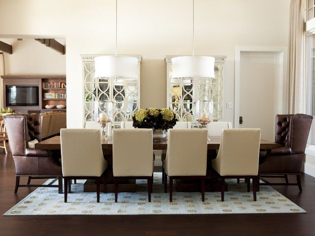 Great Elegant Designs For Dining Room Chandelier: Cool Cream Colored Dining Space  With Brown Chairs Two White Drum Pendant Lights And Long Table O..