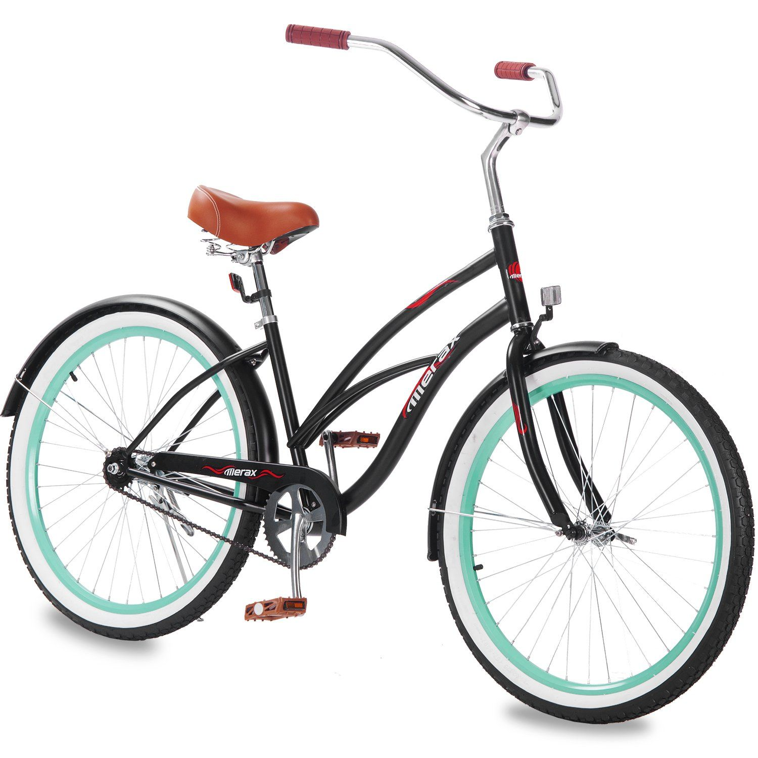 Classic single speed women s cruiser bike ideal for casual comfortable riding around the neighborhood curved beach cruiser design with 17 inch durable