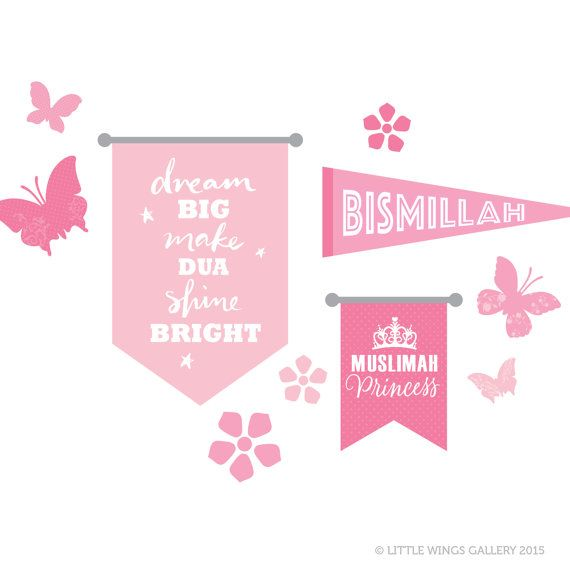 ♥ Moveable Fabric Wall Stickers by Little Wings Gallery. Transform a corner of a girls room with this adorable collection. Featuring 3 banners: Dream Big, Make Dua, Shine Bright Bismillah Muslimah Princess 4 butterflies and 3 flowers. • SIZE: M Dream Banner : 35cm (W) x 47cm