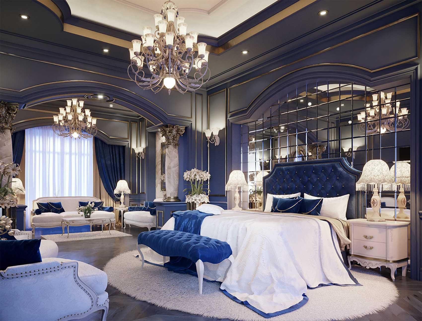 Best Stunning Navy Blue Luxury Bedroom Decor With Blue Velvet 400 x 300