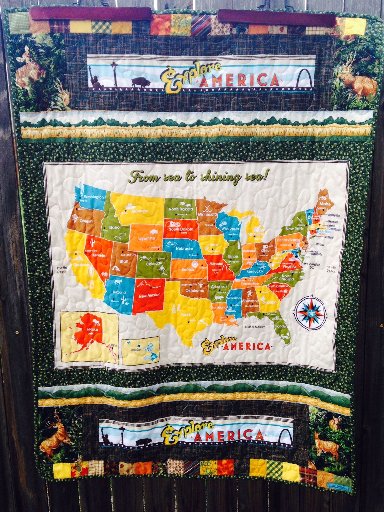 Usa map quilt minky quilted blanket map of united states of usa map quilt minky quilted blanket map of united states of america colorful gumiabroncs Images