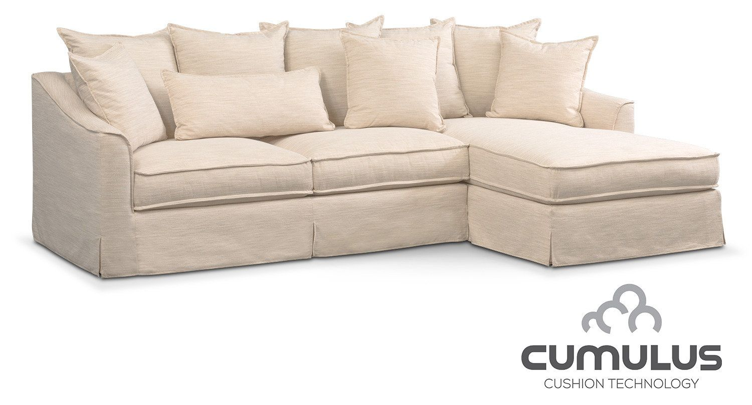 Living Room Furniture   Brooke Cumulus Sectional With Right Facing Chaise    Ivory