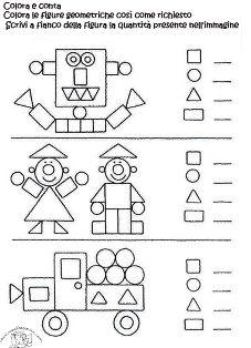 Schede figure geometriche bung f r kinder pinte - Numero di fogli di lavoro per bambini ...