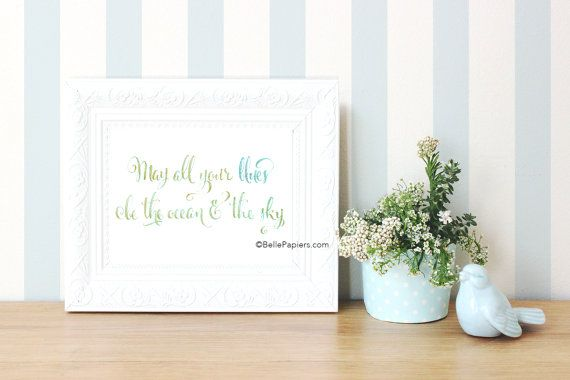 Sympathy gifts calligraphy watercolor beach art calligraphy print