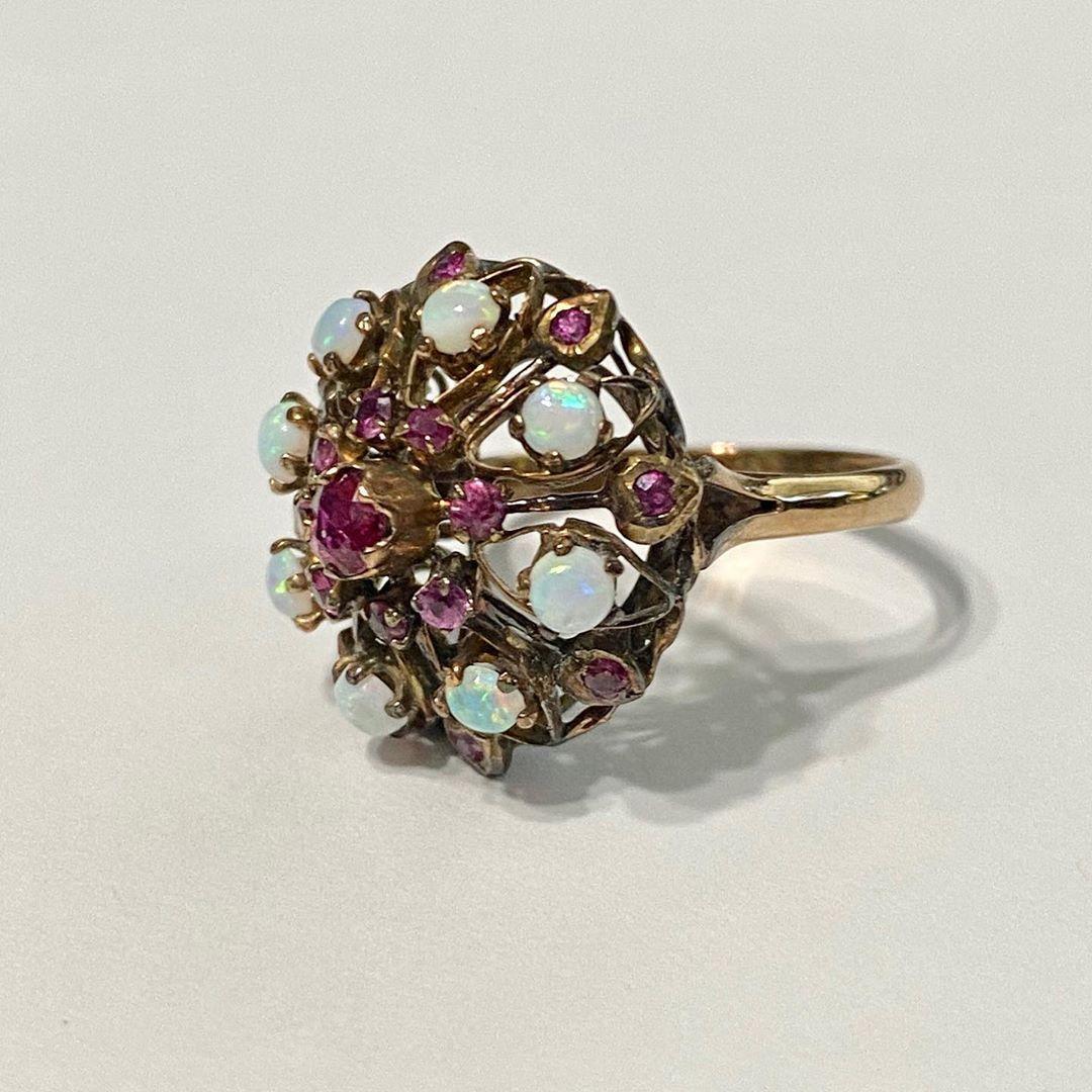 Ruby & Opal Ring-Vintage 14k Rose gold Harem Princess Ring-Sz 6 1/4 Retro Cluster Gemstone Statement Fine Jewelry..#jewelry #jewlery #jewellery #jeweleryoftheday #jewellerylovers #ruby #rubyring #rubysandopals #opal #opalring #opaljewelry #vintage #vintagestyle #vintagefashion #vintagejewelry #vintagejewellery #vintagejewelryforsale #haremring #princessrings #ladiesfashion #ladiesjewelry #ladiesjewellery #ladiesvintage #ladiesvintagejewellery