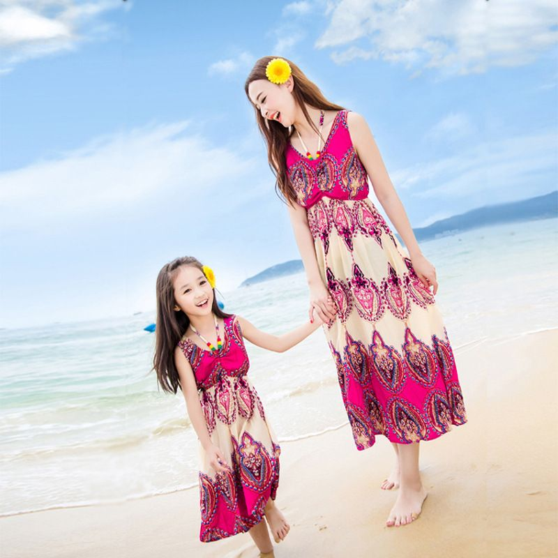 2017 Summer Beach Dress Family Matching Mother Daughter Dresses Clothes S Women Maxi Bohemian Mom And