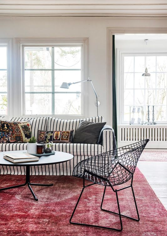 Love That Striped Couch With The Midcentury Modern Bertoia Chair Feels Swedish And Cozy And Very Quality Living Room Furniture Home Decor Living Room Designs #striped #chairs #living #room