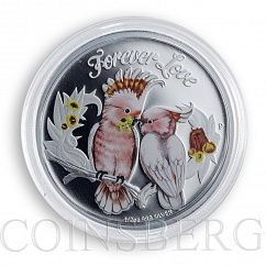 Tuvalu, 50 cents, Forever Love, parrots, colorized silver proof coin, 2014