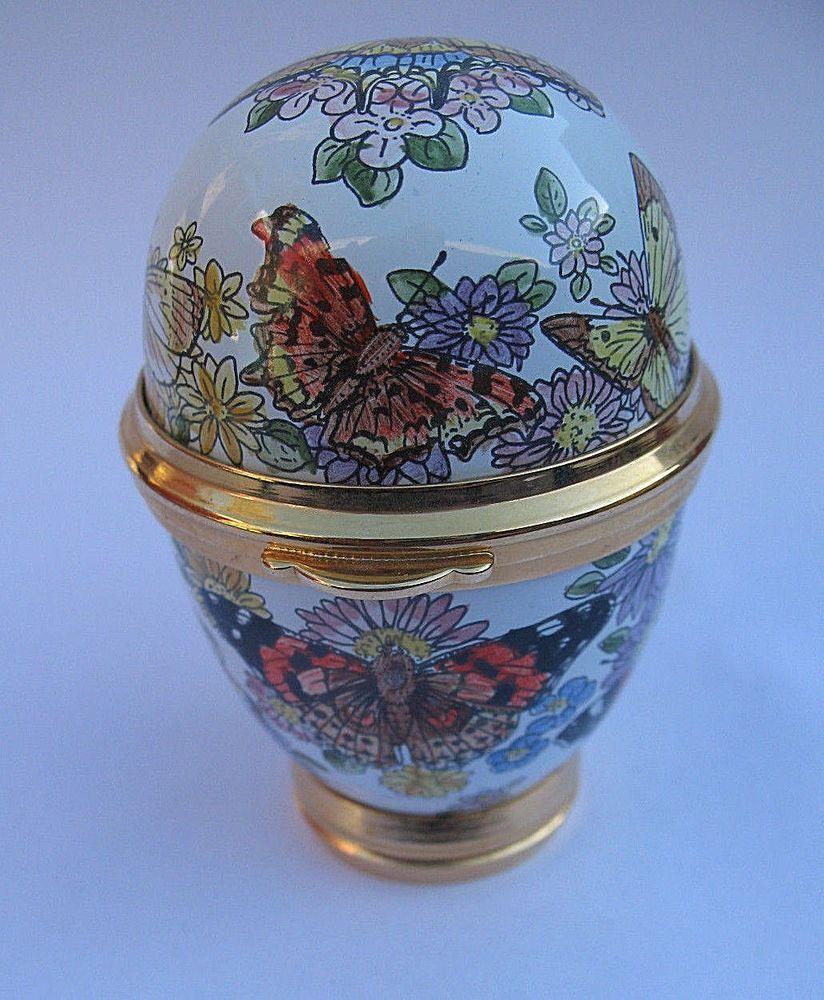 Staffordshire Enamels Egg Trinket Box Pill Butterfly