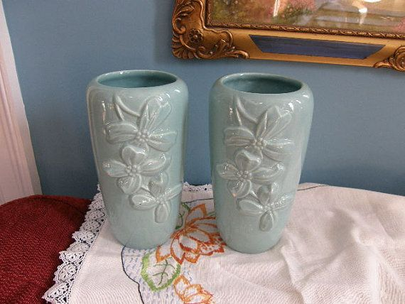 Haeger Vases Pair Torquoise Circa 1950s Dogwood Blossoms AS IS on Etsy, $36.00