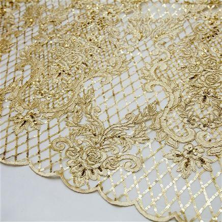 a3385156009 Tecido renda tule bordado dourado com paetê fio dourado
