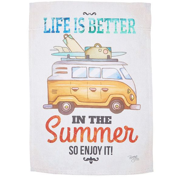 Two Group Flag Co. Impressions 'Life Is Better In The Summer' Outdoor... (€7,96) ❤ liked on Polyvore featuring home, outdoors, outdoor decor, garden flags, outdoor garden decor, outside garden decor and outdoor patio decor
