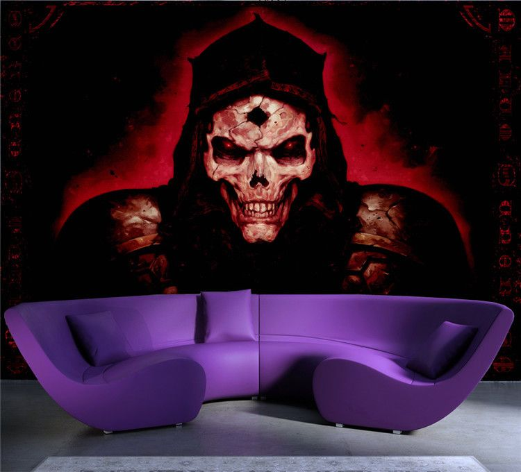 Spooky Skull Photo Wallpaper Custom Wall Mural Halloween