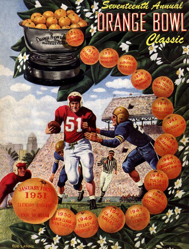 1951 Clemson Tigers vs Miami Hurricanes 22x30 Canvas