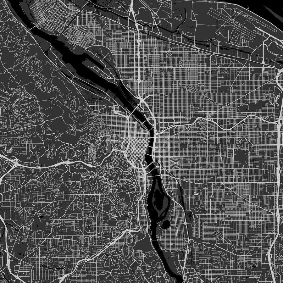 Portland Oregon Area Map Dark