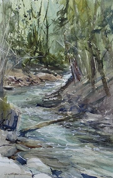 River Rosario By Sandy Strohschein Watercolor 18 X 12 Avec