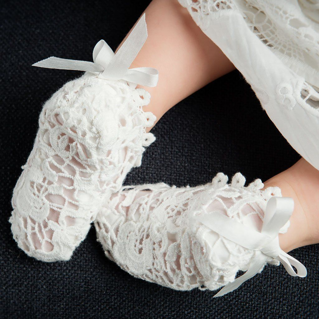 ba519884417f2 Grace Lace Christening Booties | Christening Gowns | Christening ...