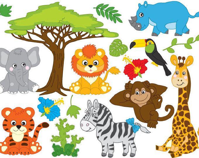 In The Wild Clipart Jungle Clipart Safari Clipart Jungle Etsy Binatang Hewan Gambar