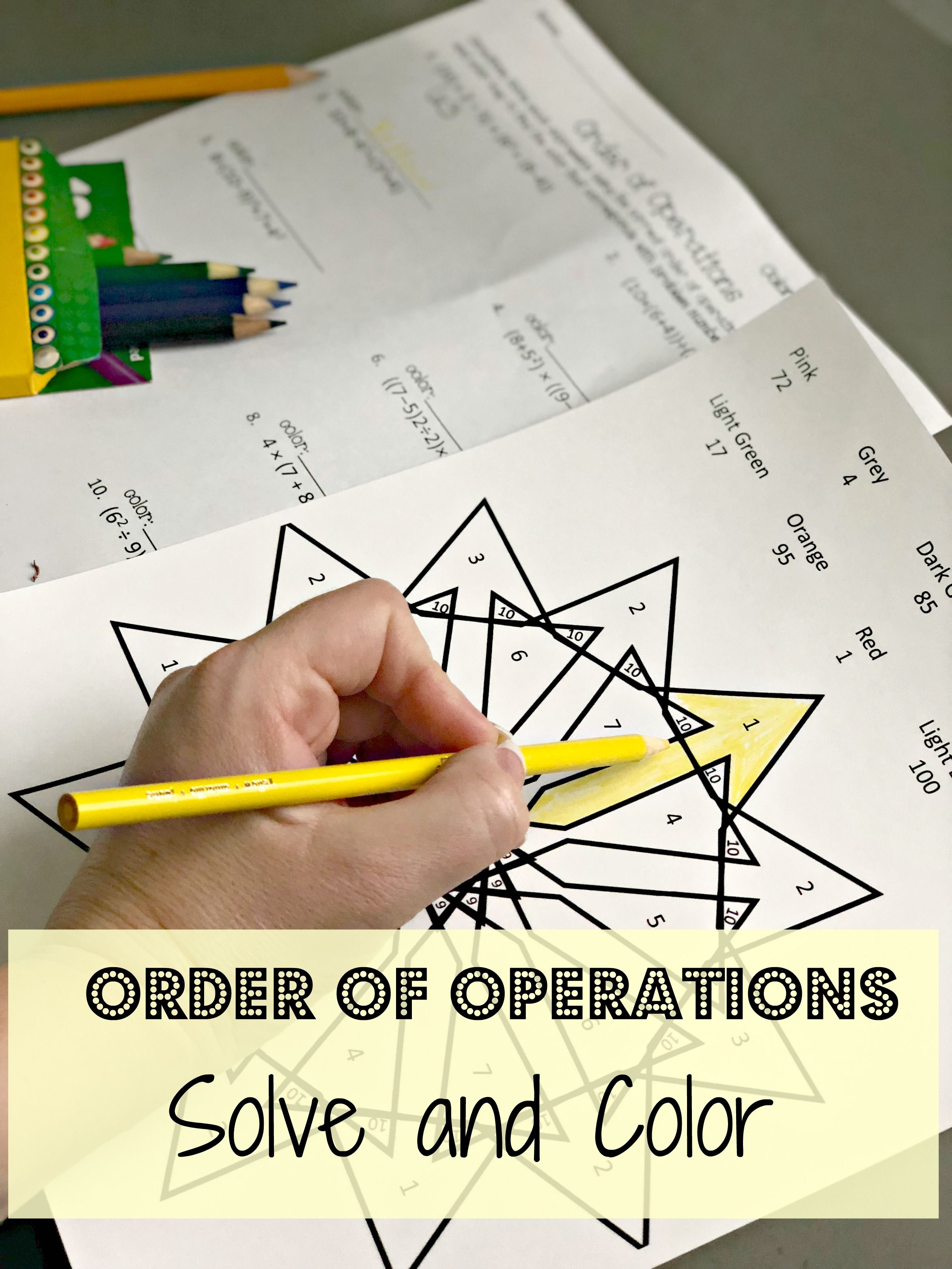 Order Of Operations Coloring Sheet Order Of Operations