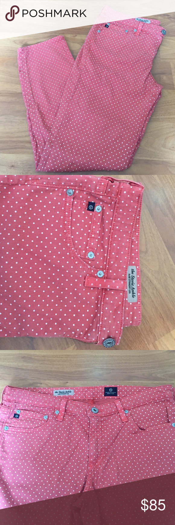 AG Stevie Ankle Pink Dot Jeans Adriano Goldschmied AG Stevie Ankle Slim Straight Leg pink dot jeans size 30R. I think I wore these once! They're adorable, but now too big :( perfect condition! Trades considered! AG Adriano Goldschmied Jeans Ankle & Cropped