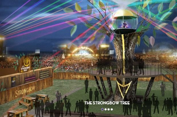Heineken build Strongbow Tree for Isle of Wight festival.   Its height means it will be visible from every corner of the site, while the installation will include loungers and seating areas.  It will become the ideal meeting place to find friends, have a drink and enjoy the music from the live DJ set.