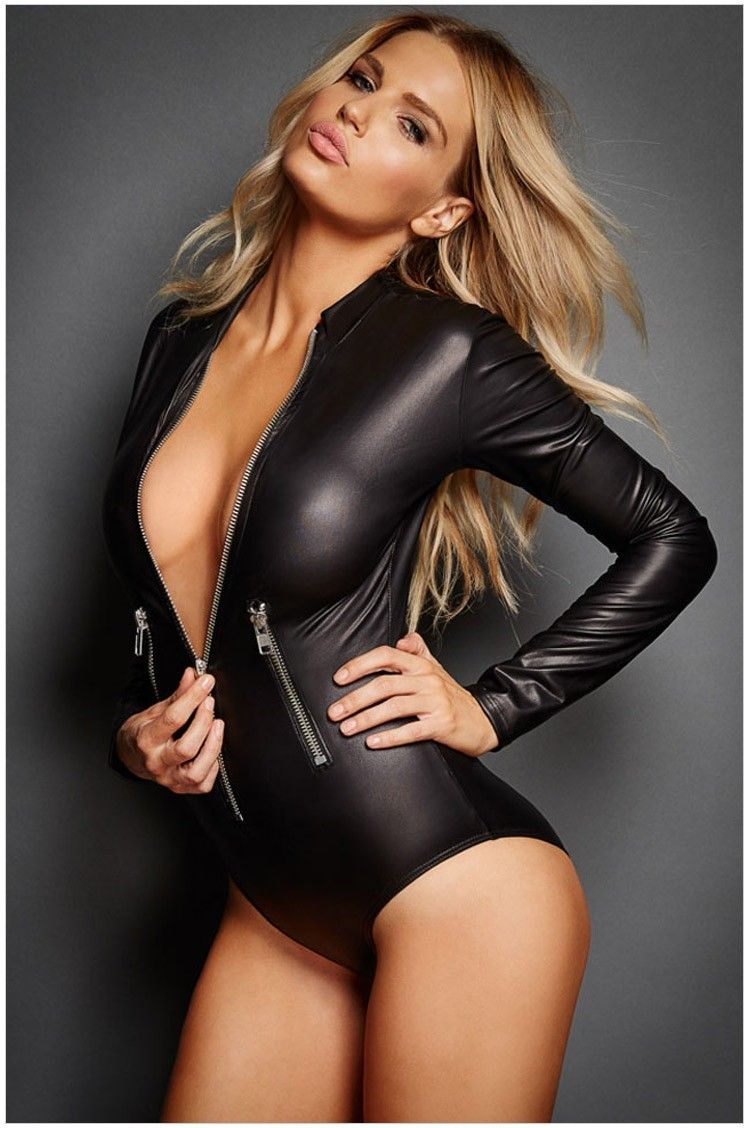 d3d97137fb XXL Sexy Bodysuits Erotic Leotard Pole Dance Teddy Lingerie Cat Women Lady  Black PU Leather Catsuit Latex Jumpsuit Costumes